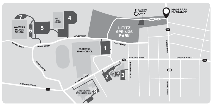 Lancaster County National Day of Prayer | Parking Map
